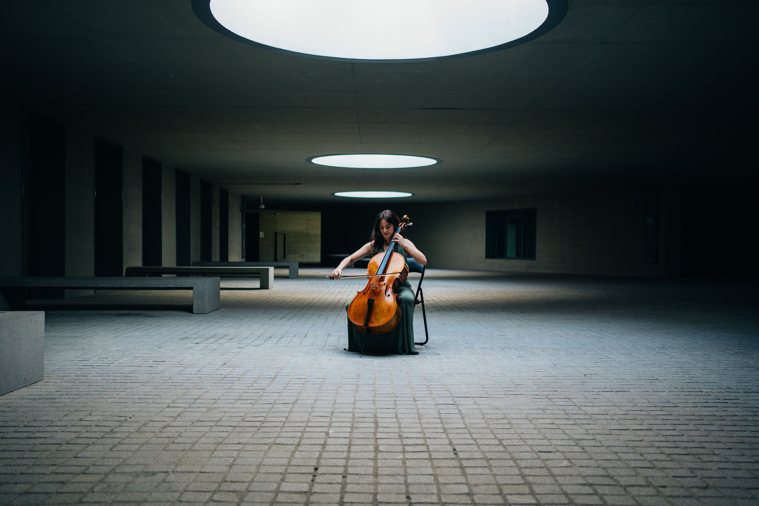 Cellist playing